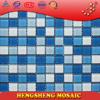 Anti-Slip Swimming Pool Bathroom Kitchen Crystal Glass Mosaic Tiles vinyl floor tiles adhesive flooring