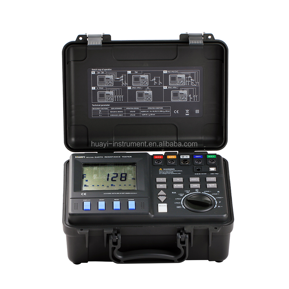 MASTECH MS2307 Intelligent Earth Resistance Tester Meter with USB2.0&2 Clamps,MS2307 double clamp earth ground resistance tester