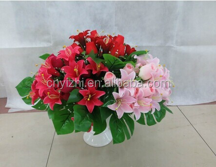 2015 wholesale red flower rose lily bouquet artificial silk flowers rose calla lily 40cmH flower rose lily
