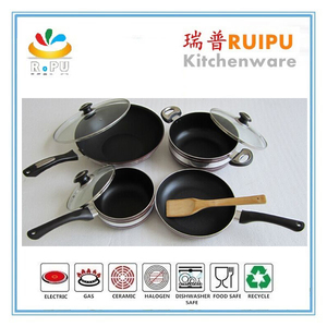Convenient and health heat resistant printing nonstick aluminum cookware sets sauce pan/casserole/fry pan