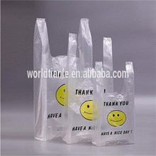 Two colors one side printed clear THANK YOU plastic T-shirt bags, vest carrier bags