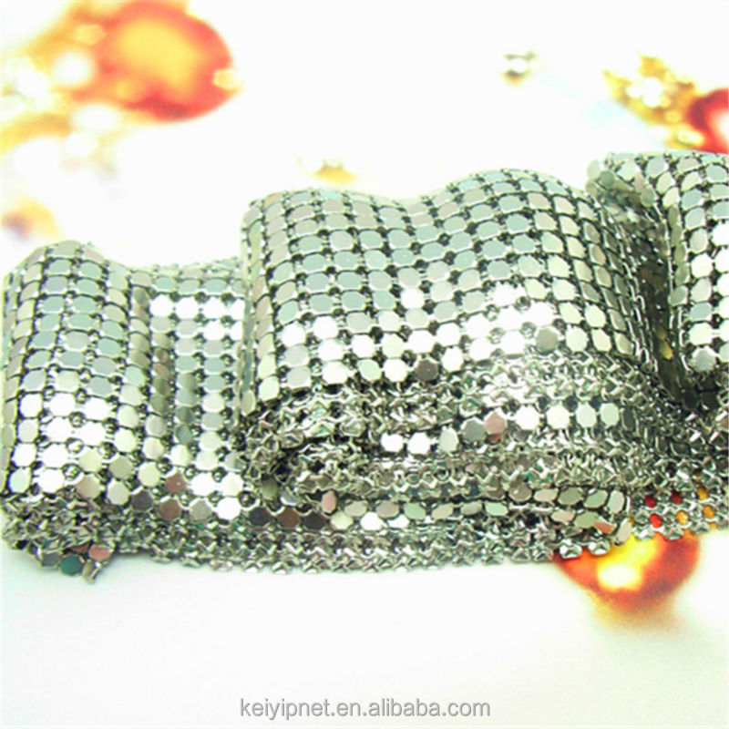 Decorated polished metal mesh curtain