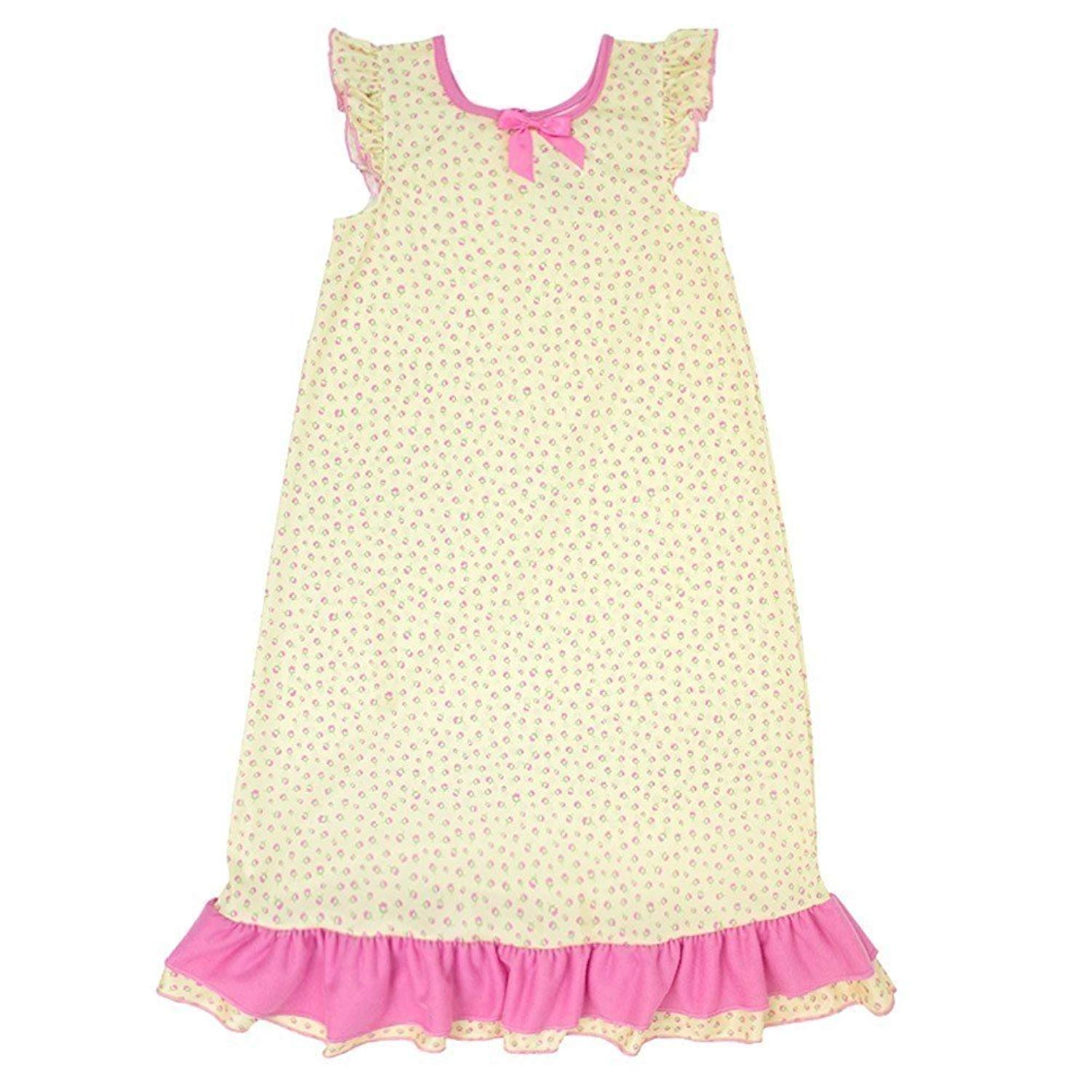 Laura Dare Little Girls Pink Playful Plaid Puff Sleeve Nightgown