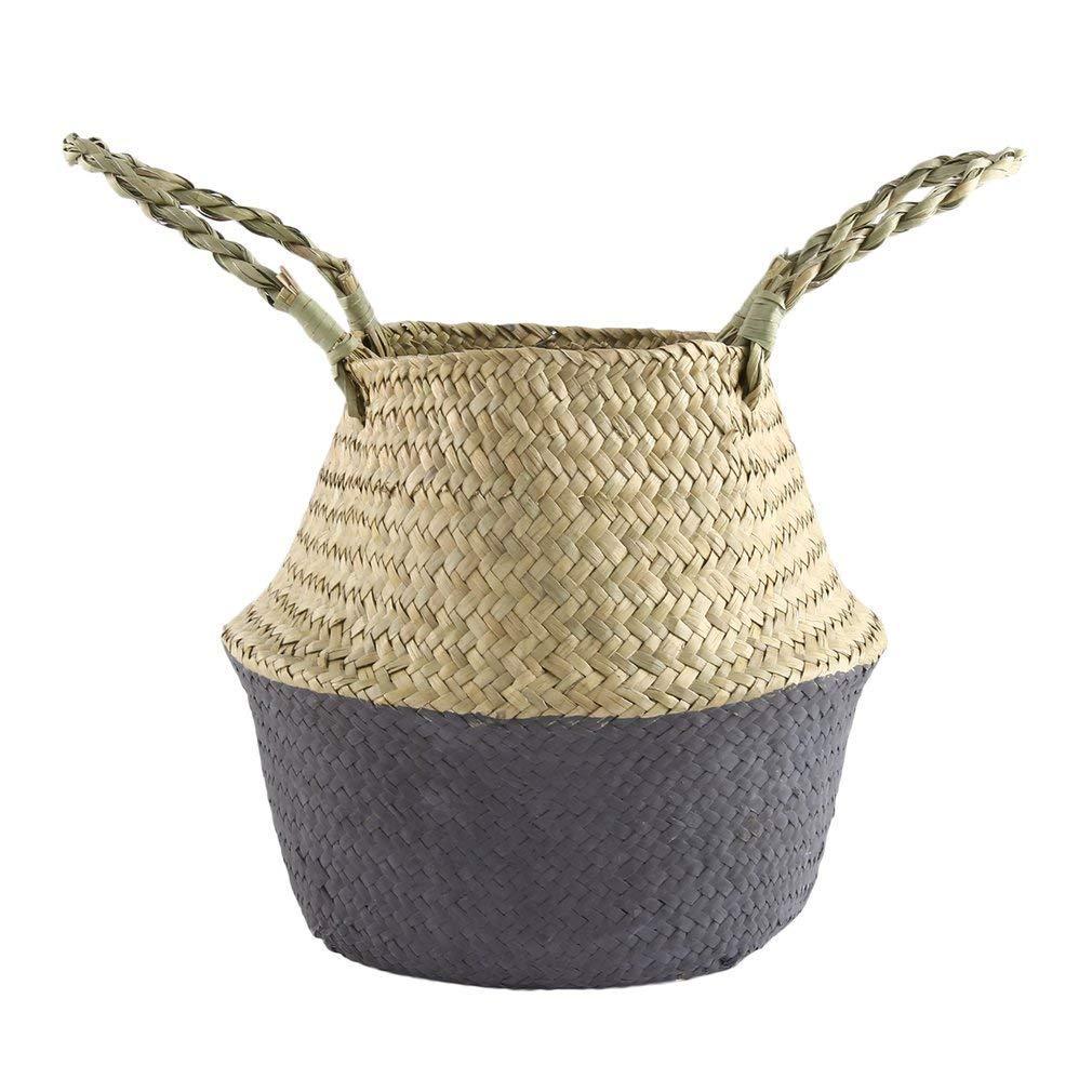 YCDC black s Foldable, Seagrass Woven Flower Basket, Handmade Planter Home Sundries Organizer, Handheld Flowerpot Foldable Seagrass Woven Flower Basket Handmade Planter Tote Belly Storage Bag