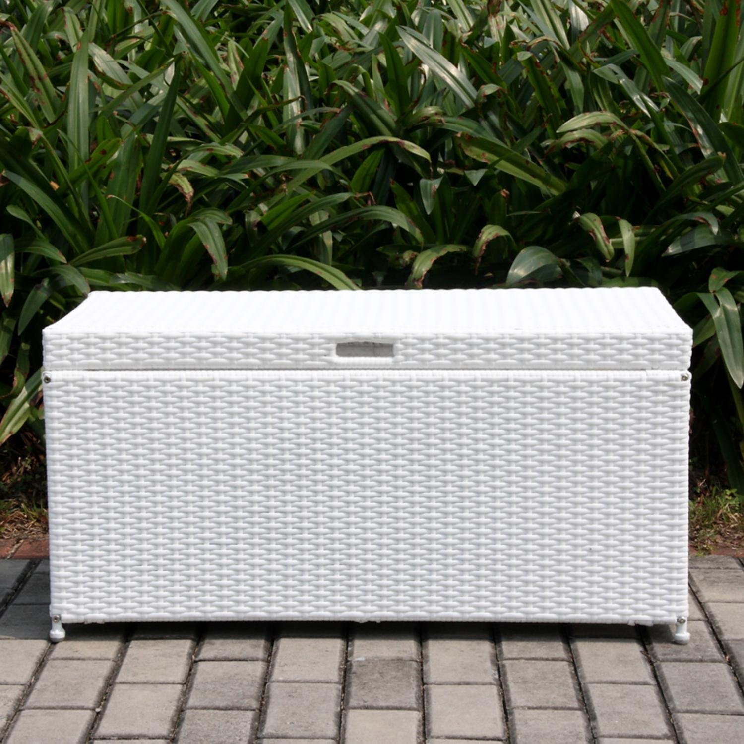 Get Quotations 40 White Resin Wicker Outdoor Patio Garden Hinged Lidded Storage Deck Box