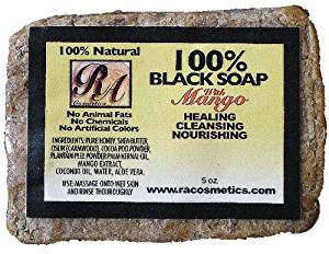 RA Cosmetics 100% African Black Soap - Mango 5 oz. (Pack of 6)