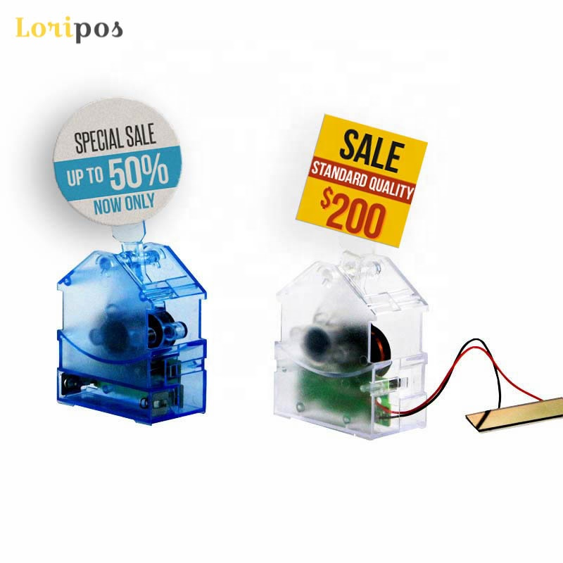 Solar Motor Swing Pop Solar Energy Wave Automatically Display Sign Stand Plastic Card Holder Sticky Sign Stand Sign Wobbler Blue