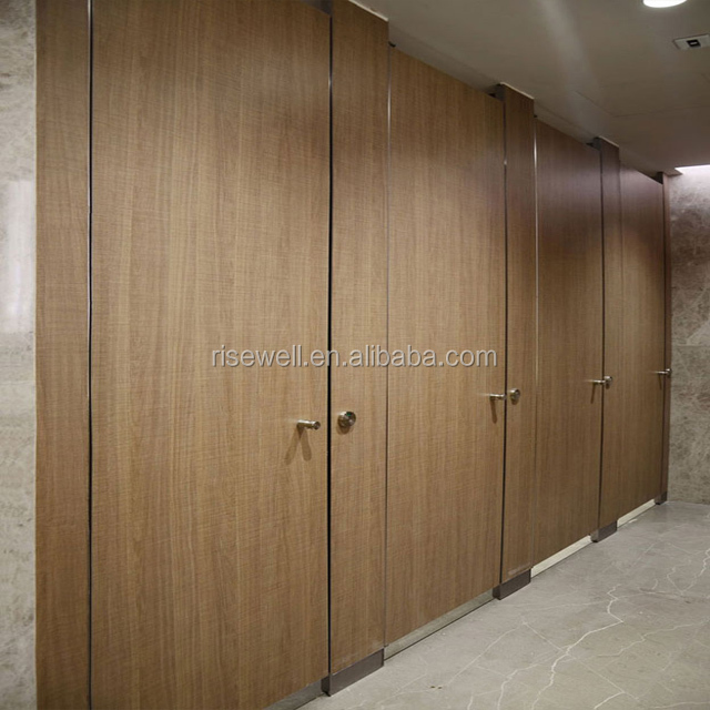 Debo shoe box series phinolic  HPL panel toilet cubicle partition with wood grain color