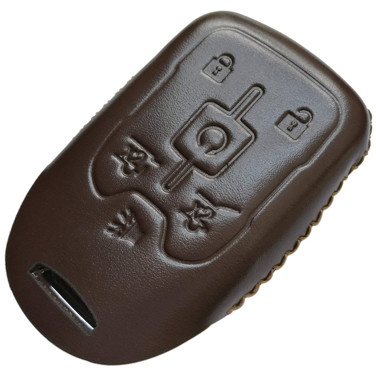 Coolbestda Leather Key Fob Remote Keyless Cover Case Protector Skin Jacket for 2017 2016 2015 Chevrolet Suburban LTZ Tahoe GMC Yukon Acadia Brown
