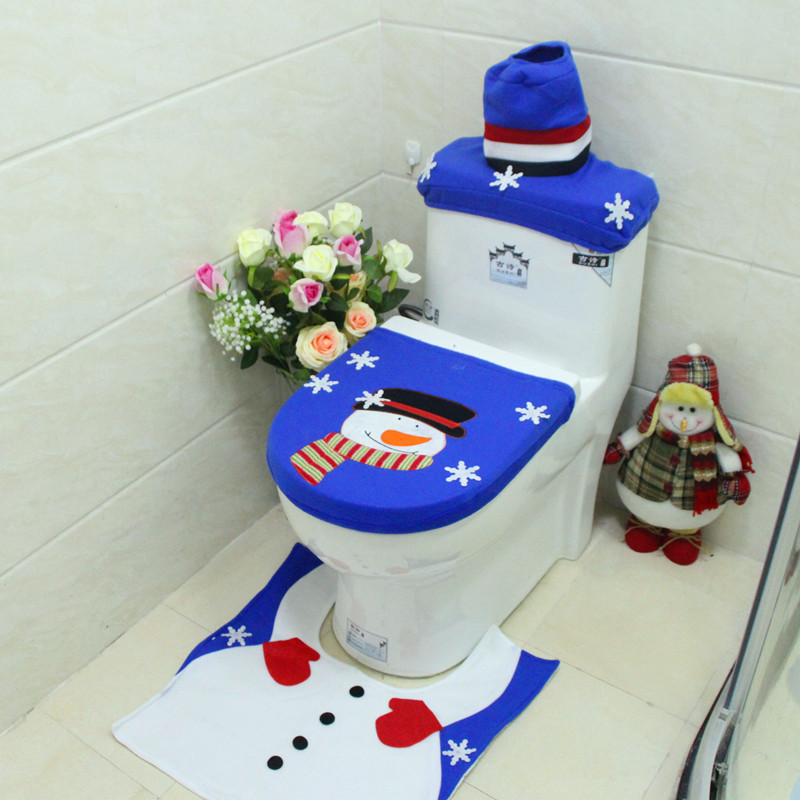 Christmas Decorations Embroidery Snowman Happy Santa Toilet Seat Cover and Rug Set