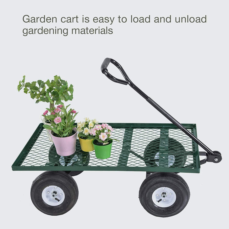 New Lawn Yard Utility Garden Wagon Heavy Duty Nursery Cart Wheelbarrow Steel Trailer