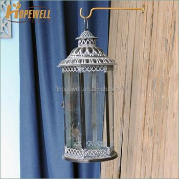 Chinese Cast Iron Garden Lantern Wed , Chrome Metal Candle Lantern