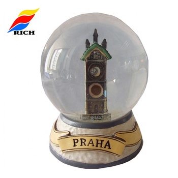 Customized Prague Landscape Glass Cheap Snow Dome Process Gift