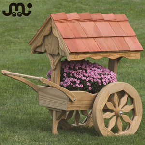 Decorative old time moveable garden wooden planter cart