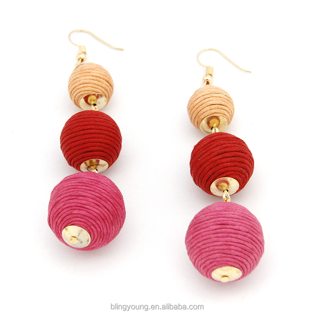 Hot selling fashion earring designs new model earrings three crispin ball drop earrings for women