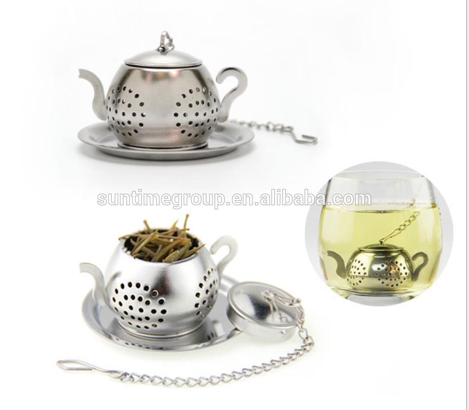 Wholesale Stainless Steel Teapot Shape Tea Filter Strainer with Long Chain