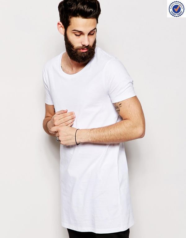 Super Longline White Plain T Shirt Men