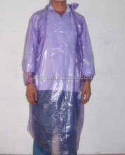 PE rain coat with hat ,rain poncho with long sleeves plastic rain coatwith logo print