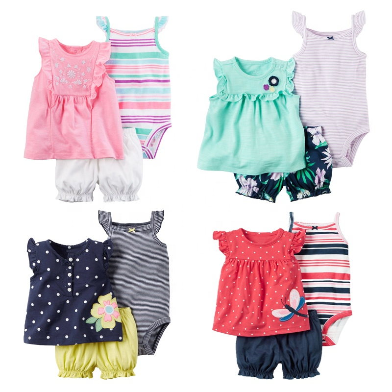 Summer cotton sleeveless baby girl plain romper infant floral jumpsuit clothing with lace фото
