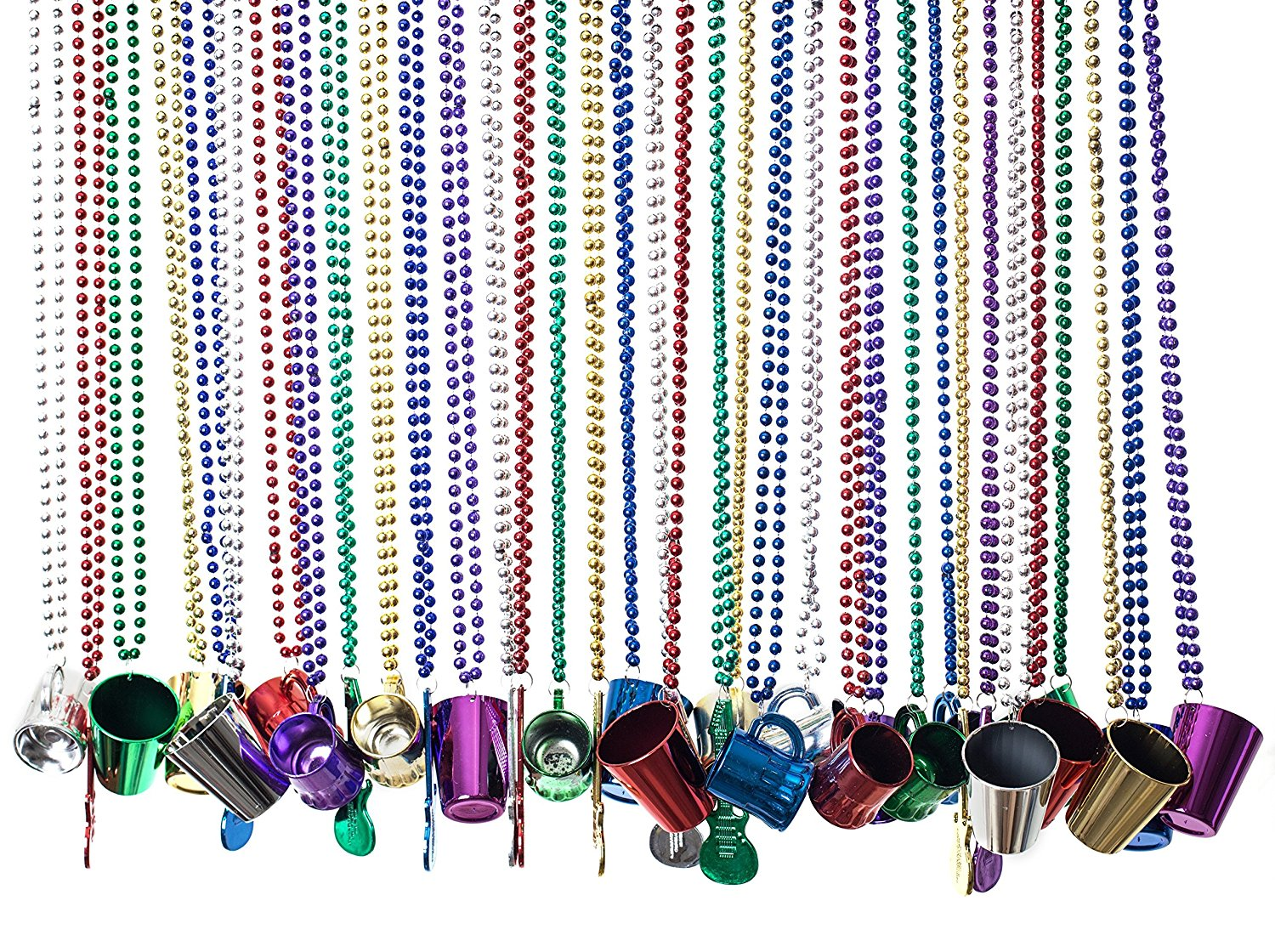 Bulk Beads; Mardi Gras Beads Necklaces With Super Sized Charms; 36 Bulk Pack, Fun Party Beaded Necklaces