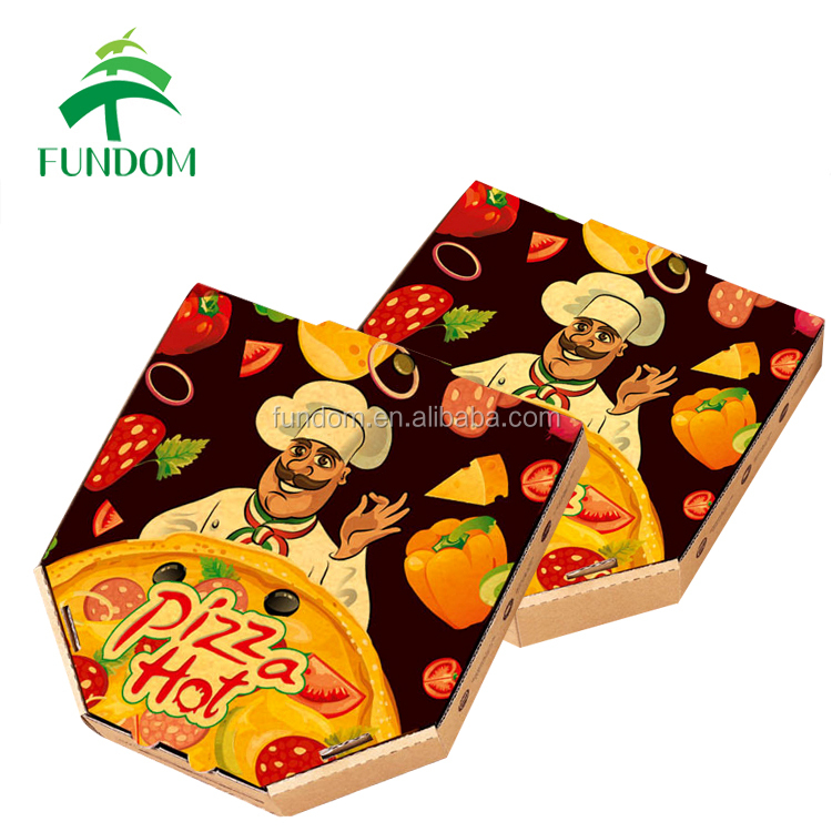 china market custom printing restaurant fast food packing brown paper pizza box with liners