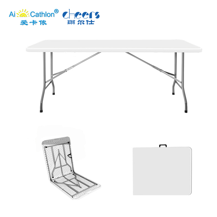 Ready to Ship White 6ft Plastic Camping <strong>Folding</strong> Table Outdoor Rectangular Fold in Half Table
