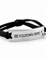 New Design Be Your Own Hero Inspirational Leather Bracelet For Men With Adjustable Black Leather Band