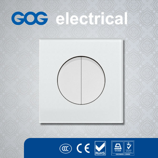 British style White toughened glass round /square push button wall switches