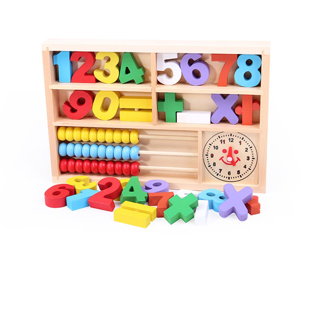 Aibearty Montessori Toys of Wooden Math Box, 4-in-1 Abacus,Blocks,Clock and Math Signs, Colorful Learning Gift for kids