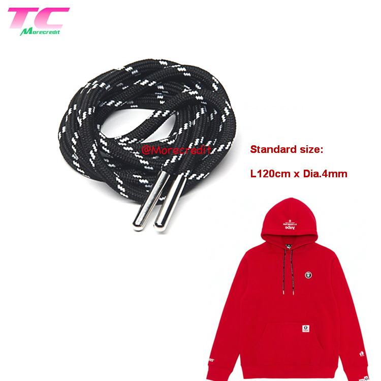 Morecredit Fast Delivery Round Black Drawstring Cord 130cm Stock Shoe Laces Band For Hoodie