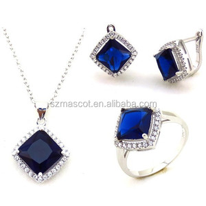 Royal Blue Stone 925 Sterling Silver Jewelry Set China Wholesale