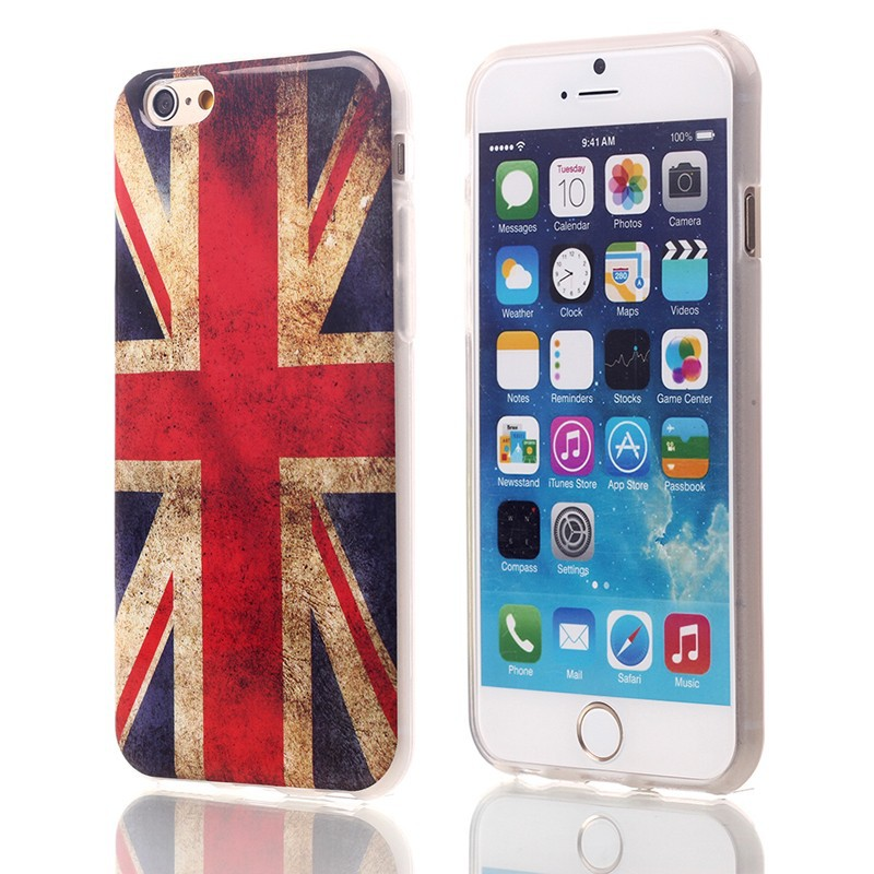 Folk style UK flag design TPU cell phone case for iPhone 6 plus