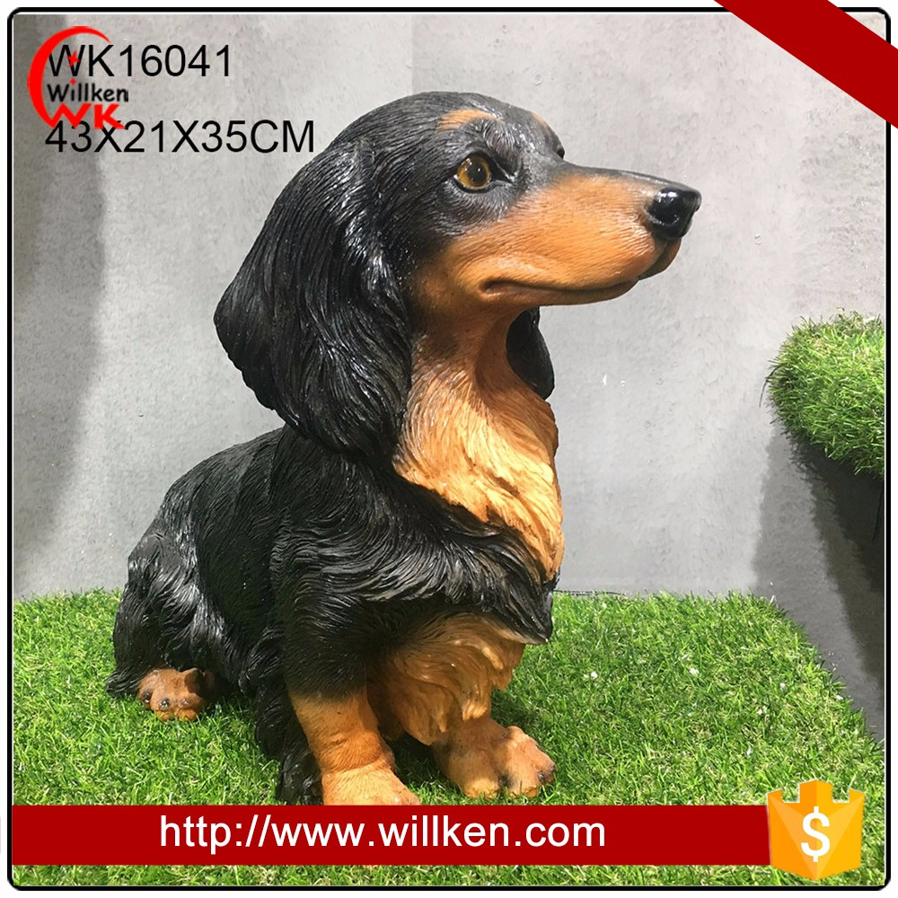 Vivid polyresin garden animal dog statues