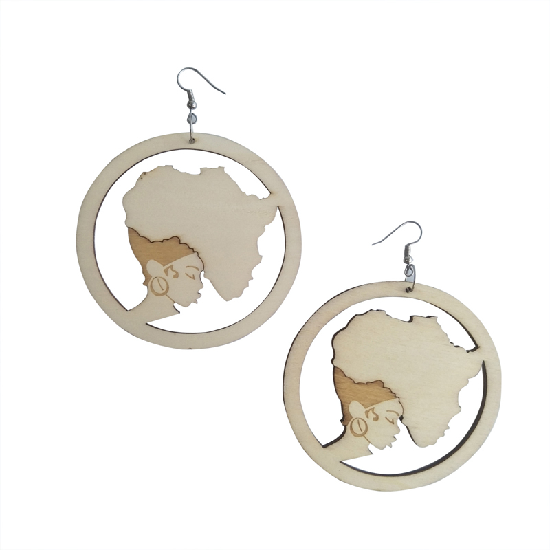 Natural Wooden Laser Cut Engraved Wood Earrings African Map