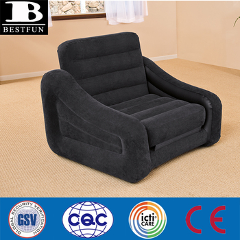 High Strength Flocking Pvc Inflatable Air Chair Durable Pull Out Sofa Bed Folding Twin