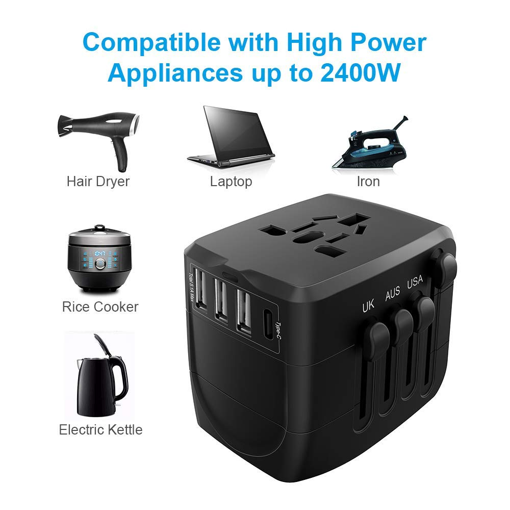 Reise Adapter 2400W High Power Universal Travel Adapter Alle in einem PlugTravel Power Adapter für High Power Appl