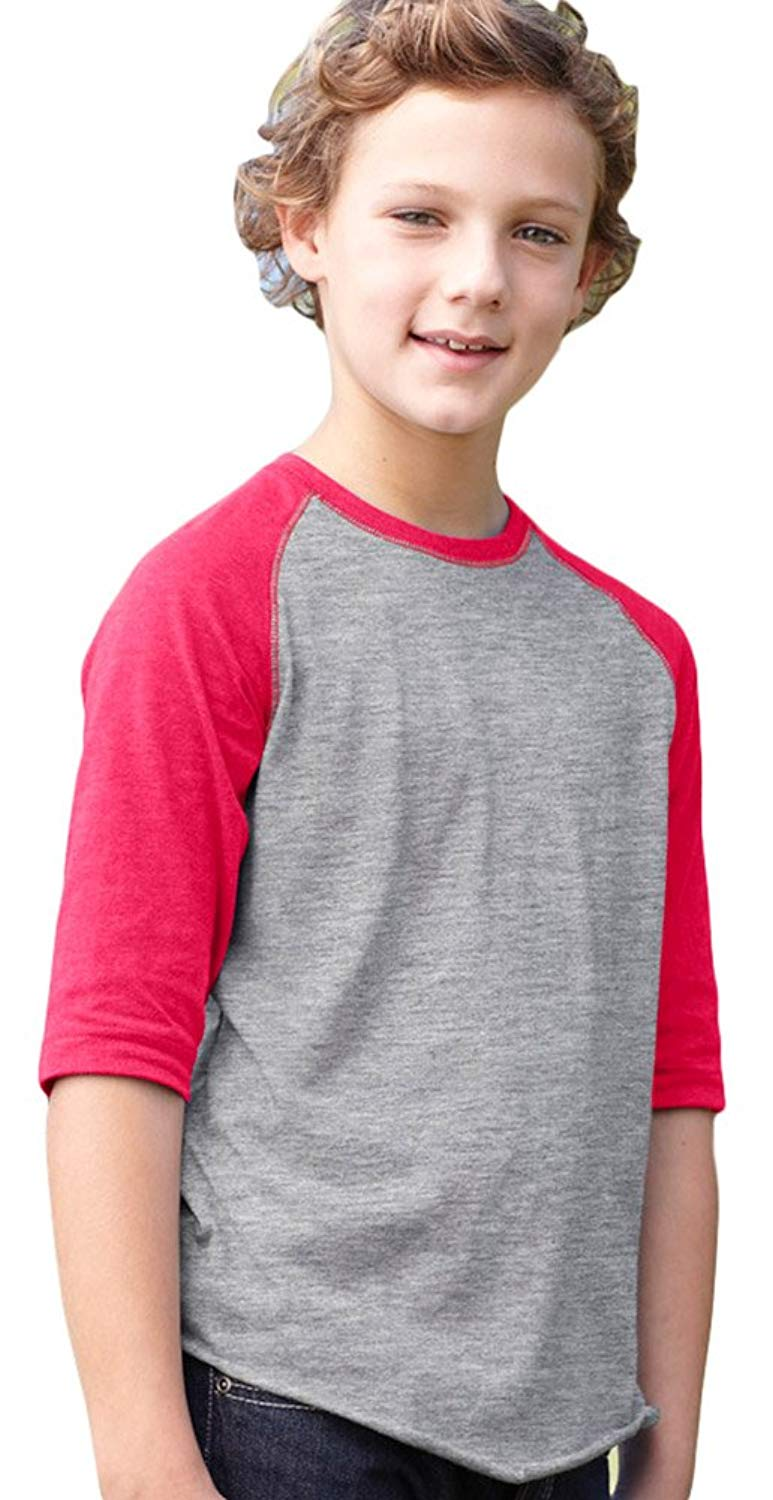 LAT Youth Vintage Fine Jersey 3/4-Sleeve Baseball T-Shirt, Hthr/Hot Pink, Small