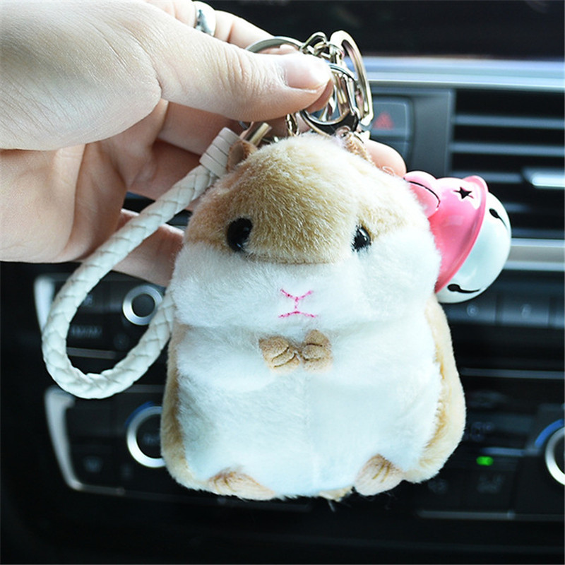Promotional Cute Kawaii Plush Fur Ball Small Hamster Phone Soft PVC Hamster Keychains With Bell Doll