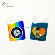 Custom Silicone rubber Cell Mobile phone card pouch with Embossed logo