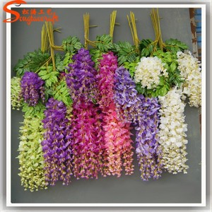 China factory import silk flowers of artificial wisteria flower wholesale silk flowers for wedding decoration