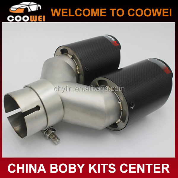 Top Auto Accessories Carbon Fiber New Style Exhaust Tips 304 Stainless Steel 63mm-89mm Double Pipes Dual Muffler Exhaust Tips