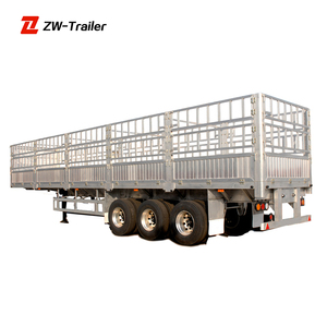 40T Flatbed Semi Trailer Poultry Transport Truck Trailer Fence Cargo Truck 3 Axles Fence Semi Trailer