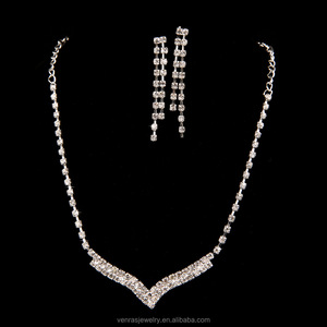 Elegant crystal earrings necklace cz stones wedding girls accessories bridal Costume jewelry set