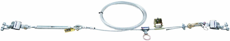 3M DBI-SALA Sayfline 7603080 Permanent Horizontal System 80 Multi-Span Galvanized Cable with 2 InterMediumiate Brackets Mounting Hardware and Zorbit Energy Absorbers Tensioner