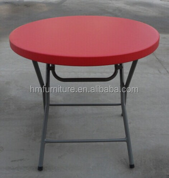 80cm Round Plastic Folding Dinning Table  Red Color Table