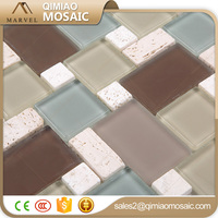 Randome Colorful Frosted Glass Mosaic Mix Stone Wall Board Tile