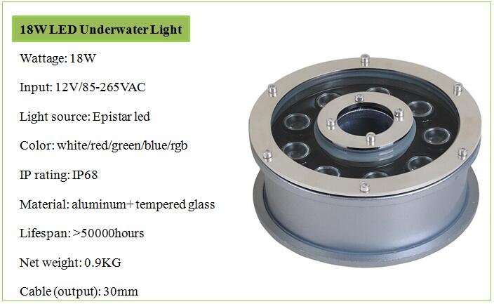 Ip68 Ring Dmx Led Fountain Light Rgb 12v 6w 9w 18w Led