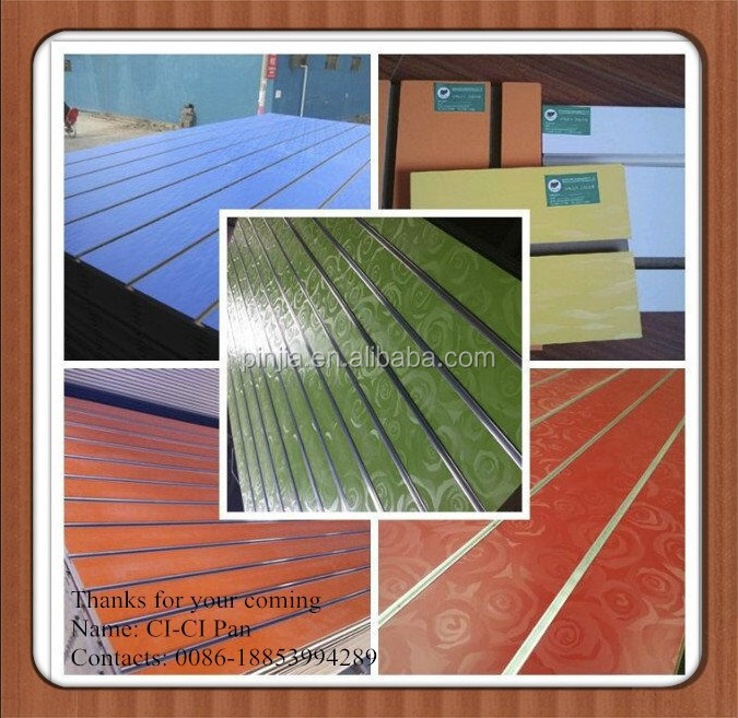 High Quality MDF Slot wall with aluminum grooves Inserts fom Factory 18mm