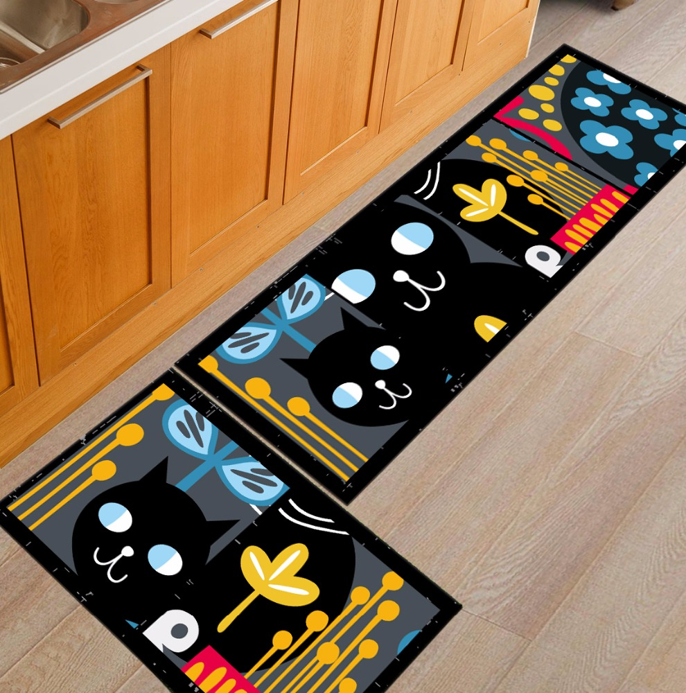 Mat For Kitchen Foldable Washable Polyester Waterproof Anti Slip Cute Animal Cat Decorative New Bath Kitchen Foot Mat Rug