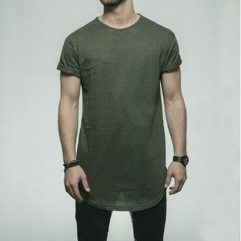 2315bc7eff6 2018 New Fashion Men Bamboo Fabric Curve Hem TShirt/ Olive Blank Longline  T-Shirt